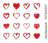 set of hand drawn hearts.... | Shutterstock .eps vector #747341017