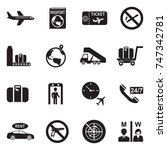 airport icons. black flat... | Shutterstock .eps vector #747342781