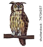 Stock photo owl perched on branch realistic illustration over white 74734357