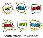 retro comic speech bubbles set... | Shutterstock .eps vector #747345424