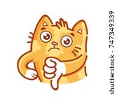 cute ginger cat  thumbs down ...   Shutterstock .eps vector #747349339