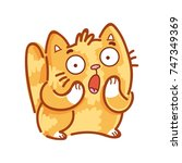 cute ginger cat  surprised ... | Shutterstock .eps vector #747349369