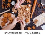 christmas gingerbread making.... | Shutterstock . vector #747353851
