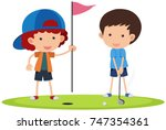 two boys playing golf... | Shutterstock .eps vector #747354361