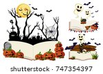 three books with halloween... | Shutterstock .eps vector #747354397