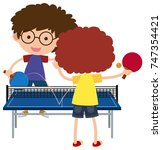 two boys playing pingpong...   Shutterstock .eps vector #747354421