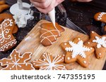 christmas bakery. process of... | Shutterstock . vector #747355195