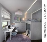 child room interior with toy... | Shutterstock . vector #747355429