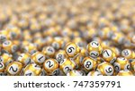 golden lottery balls stack... | Shutterstock . vector #747359791