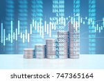 graph coins stock finance and... | Shutterstock . vector #747365164