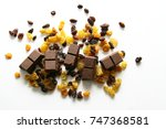 raisins and chocolate   a... | Shutterstock . vector #747368581