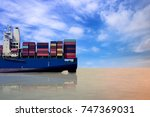 international freight ship at...   Shutterstock . vector #747369031