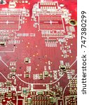 Small photo of red pcb board pattern