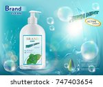 packing a bottle with hygienic... | Shutterstock .eps vector #747403654