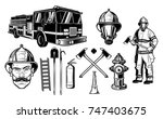 firefighter and fire department ... | Shutterstock .eps vector #747403675