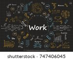plan sketch text  work and text ... | Shutterstock .eps vector #747406045