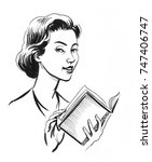 woman with a book | Shutterstock . vector #747406747