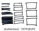 set of sketch drawn frames....   Shutterstock . vector #747418195