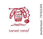 hand drawn festive christmas... | Shutterstock .eps vector #747421345