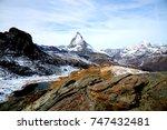 panorama view of matterhorn as... | Shutterstock . vector #747432481