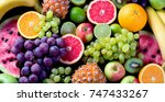 Organic Fresh Fruits Backgroun...