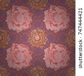wedding flowers design in pink  ...   Shutterstock .eps vector #747444421