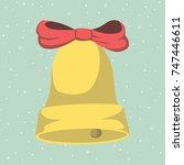 jingle bells with red bow | Shutterstock .eps vector #747446611