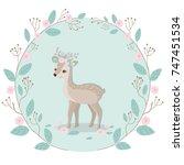 reindeer and sweet floral...   Shutterstock .eps vector #747451534
