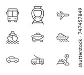 transport line icon set | Shutterstock .eps vector #747457849
