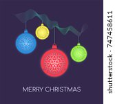 merry christmas or new year... | Shutterstock .eps vector #747458611