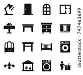 16 vector icon set   table lamp ... | Shutterstock .eps vector #747463699