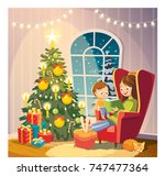 vector illustration with mom... | Shutterstock .eps vector #747477364