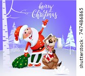 cheerful santa claus and happy... | Shutterstock .eps vector #747486865