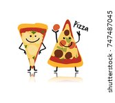 pizza slices character  sketch... | Shutterstock .eps vector #747487045