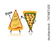pizza slices character  sketch...   Shutterstock .eps vector #747487105