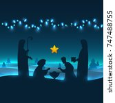 baby jesus born in bethlehem in ...   Shutterstock .eps vector #747488755