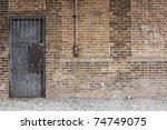 Grunge Brick Wall   Barred Door