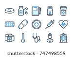 medical related line icons.... | Shutterstock .eps vector #747498559