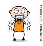 cartoon prisoner trembling in...   Shutterstock .eps vector #747500581