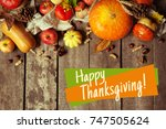 happy thanksgiving day display... | Shutterstock . vector #747505624