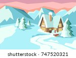 Winter Landscape With House In...