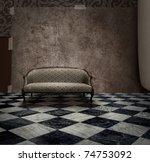Antique Sofa In Rough Grunge...
