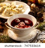christmas beetroot soup  borsch ... | Shutterstock . vector #747533614