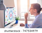 woman using computer with... | Shutterstock . vector #747534979