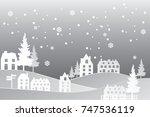 winter snow urban countryside... | Shutterstock .eps vector #747536119