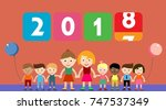 years replace icon with kids ... | Shutterstock .eps vector #747537349