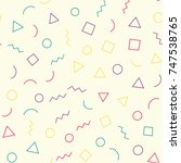 seamless memphis pattern 80's...   Shutterstock .eps vector #747538765