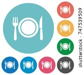 dinner flat white icons on... | Shutterstock .eps vector #747539509