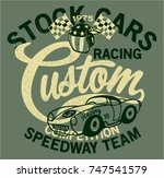 cute stock cars racing team ... | Shutterstock .eps vector #747541579