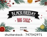 black friday sale banner with... | Shutterstock . vector #747542971